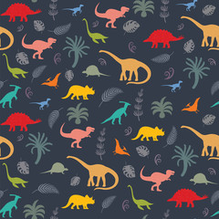 Seamless pattern with dinosaur silhouettes.