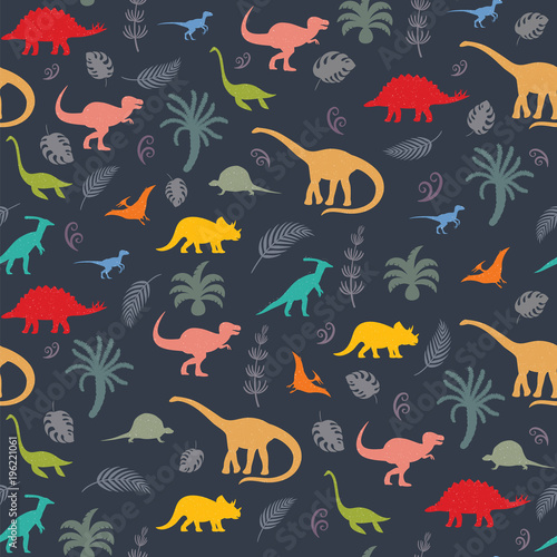 Cuadros en Lienzo Seamless pattern with dinosaur silhouettes.