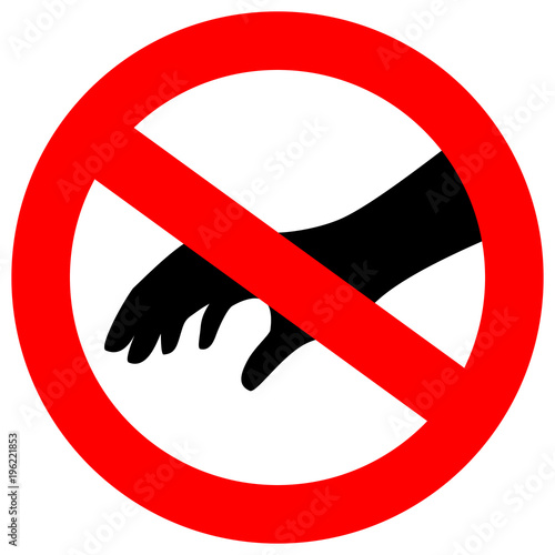 Leinwand Poster Don't touch please security vector sign