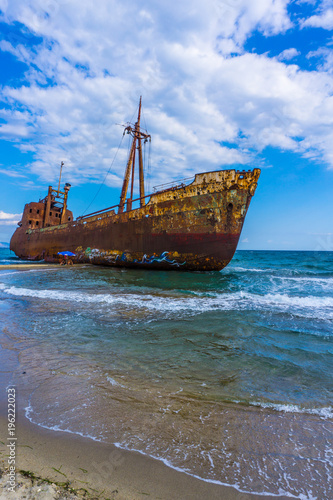 In de dag The famous, old and rusty shipwreck Agios Dimitrios in Gythio of Peloponnese in Greece