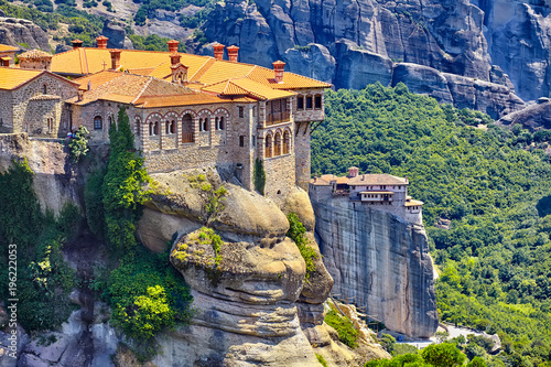 Obraz The Great Monastery of Varlaam on the high rock in Meteora, Thessaly, Greece - fototapety do salonu