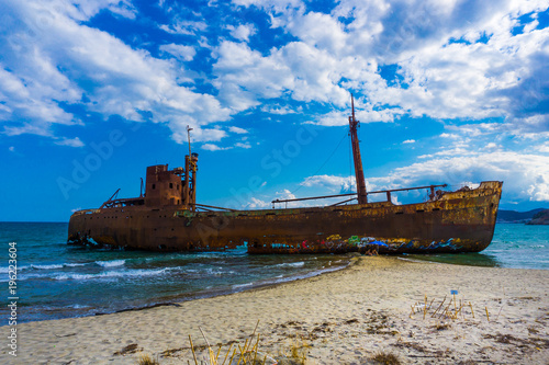 Keuken foto achterwand Schip The famous, old and rusty shipwreck Agios Dimitrios in Gythio of Peloponnese in Greece