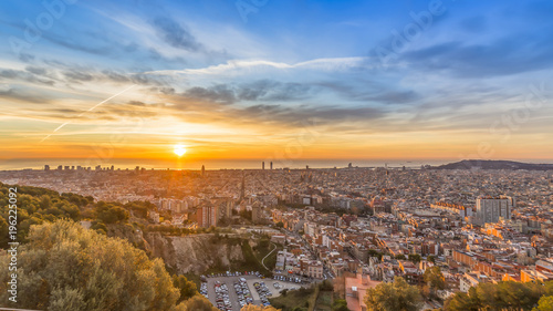 Canvas Prints Athens sunrises in barcelona landscape