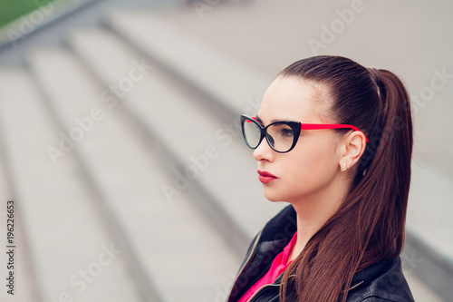 b83826b9120c Portrait of girl in transparent glasses young beautiful stylish girl jpg  500x334 Stylish girl goggles