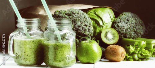 Fotomural smoothies with vegetables. sports nutrition