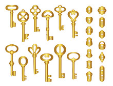 Vintage Gold Keys And Keyholes...