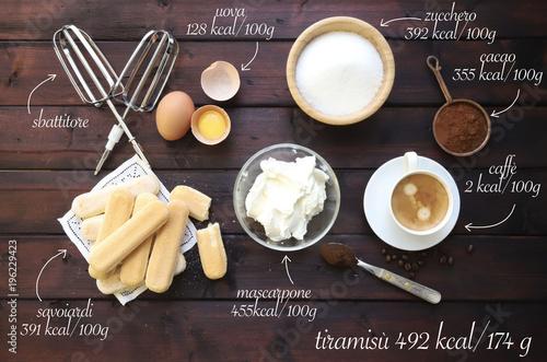 Fotografie, Obraz  ingredienti tiramisù
