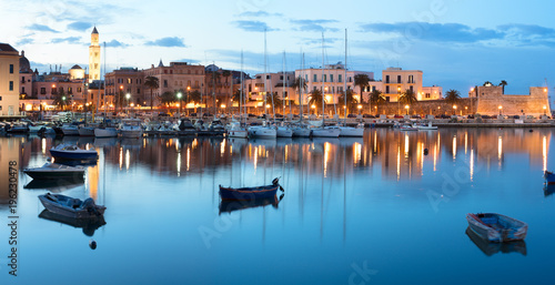 Deurstickers Stad aan het water Evening view of marina with different boats. Old Town district. Bari, Italy.