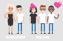 Different Types Of Sexuality: Transgenders And Bisexuals. LGBTQ Community. Concept. Flat Editable Vector Illustration, Clip Art