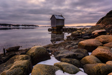 A Cabin On The West Coast Of Gothenburg Amidst Snow During Winter, Sweden