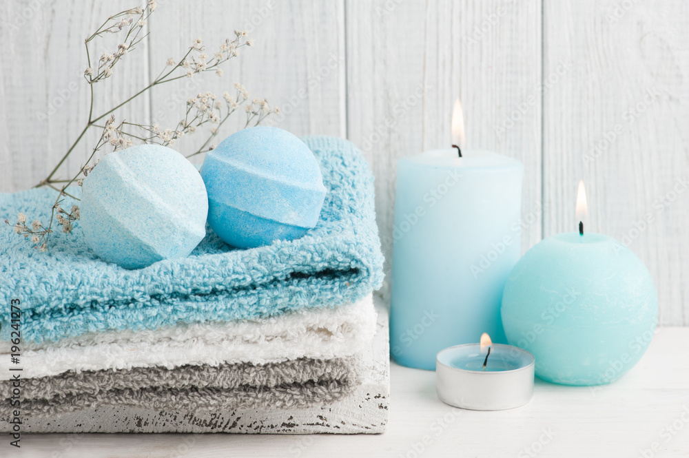 Fototapeta SPA composition with bath bombs