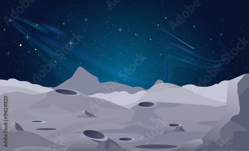 Aluminium Prints Dark grey Vector illustration of Moon landscape background with beautiful night sky.