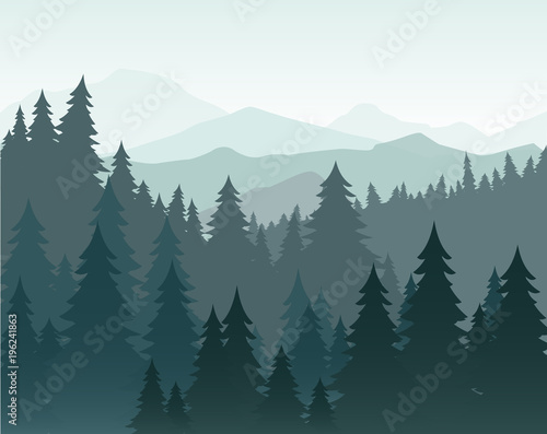 Vector illustration of pine forest and mountains vector background. Coniferous forest, fir silhouette and mountains in fog landscape. Wall mural