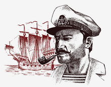 Sea Captain Against The Background Of Sailboat, Marine Sailor With Pipe, Bluejacket. Portrait Of The Seaman. Travel By Ship Or Boat. Engraved Hand Drawn, Vintage Sketch For Tattoo Or Print On T-shirt.