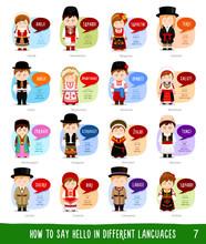 People Saying Hello In Different Languages: Slovak, Slovenian, Macedonian, Bulgarian, Estonian, Czech, Belarusian, Ukrainian, Romanian, Montenegrin, Albanian, Lithuanian, Latvian, Estonian.
