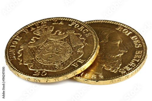 Photo Belgian 20 Francs gold coins isolated on white background