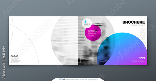 Poster Gris Violet Brochure design. Horizontal cover template for brochure, report, catalog, magazine. Layout with gradient circle shapes and abstract photo background. Swiss style Brochure concept