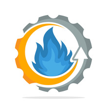 Iconic Logo With The Concept Of Improving The Performance Of Fuel Combustion Process