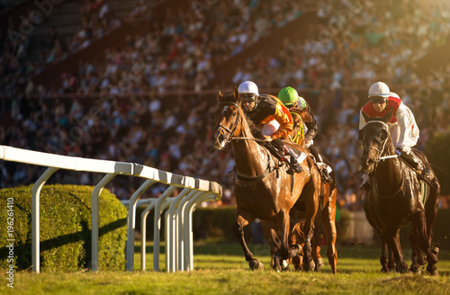 Photo  Two jockeys during horse races on their horses going towards finish line