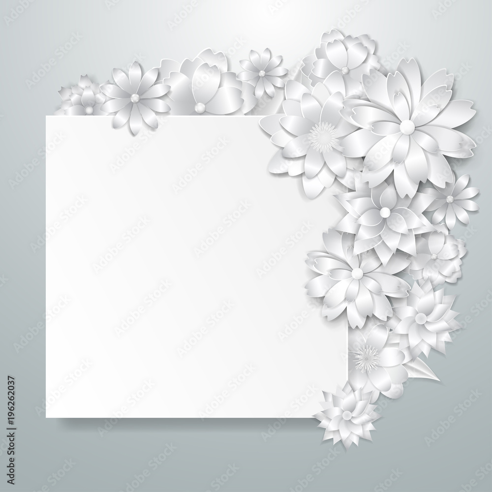 Greeting card template with beautiful volume paper flowers with soft shadows