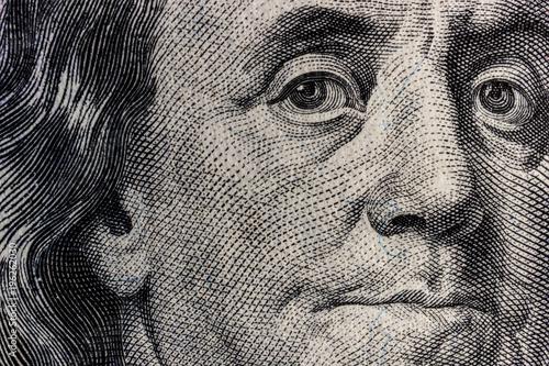 Fototapeta Closeup of Ben Franklin on a one hundred dollar bill for background IV obraz