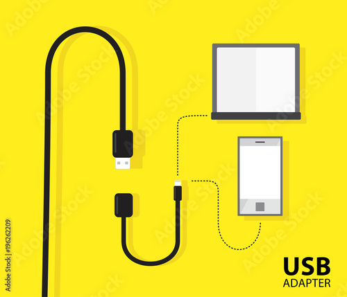 USB adapter cable for notebook or phone on yellow background Fototapet