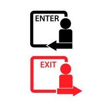 Exit And Enter Vector Icons. F...