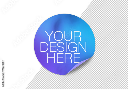 Round Sticker with Rolled-Up Corner and Shadow Mockup  Buy
