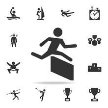 Runner Over Barrier Icon. Detailed Set Of Athletes And Accessories Icons. Premium Quality Graphic Design. One Of The Collection Icons For Websites, Web Design, Mobile App
