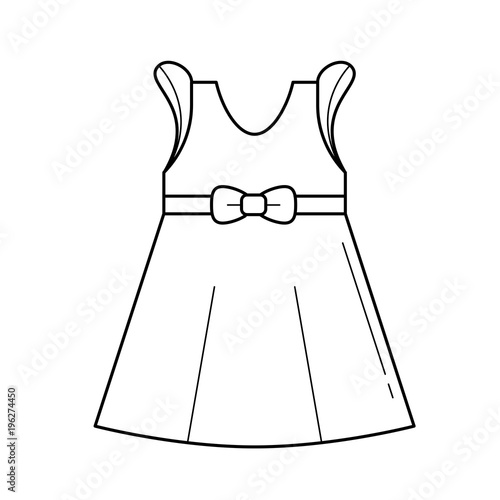 47a9a371fc30 Little girl dress vector line icon isolated on white background ...