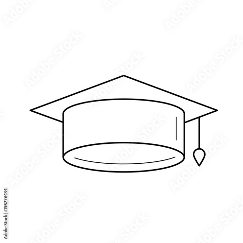 27517f569b2 Graduation cap line icon isolated on white background. Vector line icon of graduation  hat for infographic