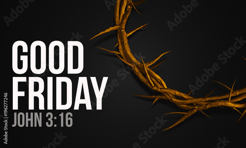 Leinwand Poster Good Friday John 3:16 Gold Crown of Thorns 3D Rendering