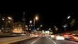 Driving at Full Speed to Downtown Chicago at Night Camera Car Time Lapse. Road rage camera car driving from the West with the awesome skyline of Chicago.