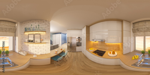Incredible 3D Illustration Spherical 360 Degrees Seamless Panorama Of Interior Design Ideas Clesiryabchikinfo