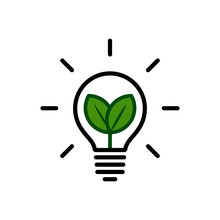 Symbol Of Ecological Renewable Energy, Lightbulb With Leaves