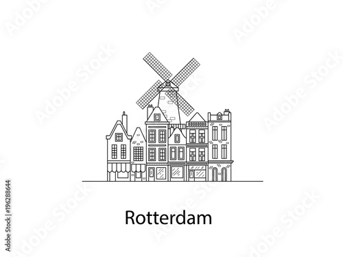 Deurstickers Rotterdam The city of Rotterdam. European houses. Different sizes and constructions. Old houses of Europe Flat vector in lines