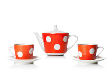 Tea Set, Red And White Polka ...