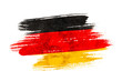Leinwandbild Motiv Art brush watercolor painting of Germany flag blown in the wind isolated on white background.