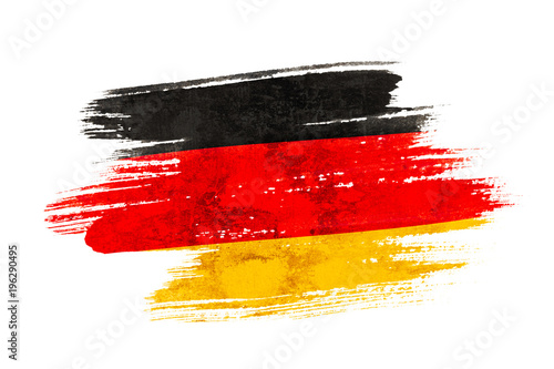Cuadros en Lienzo Art brush watercolor painting of Germany flag blown in the wind isolated on white background