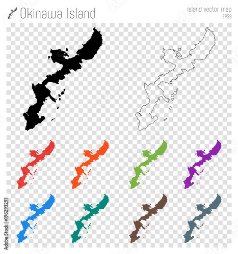Okinawa Island high detailed map. Island silhouette icon. Isolated Okinawa Island black map outline. Vector illustration.