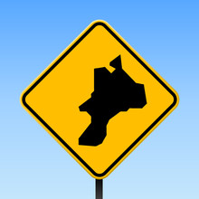 Mayreau Map On Road Sign. Square Poster With Mayreau Island Map On Yellow Rhomb Road Sign. Vector Illustration.