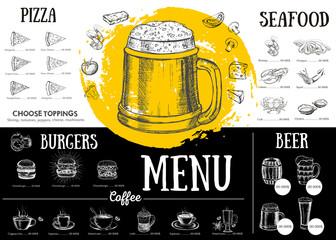 Fototapeta Restaurant cafe menu, template design. Food flyer.