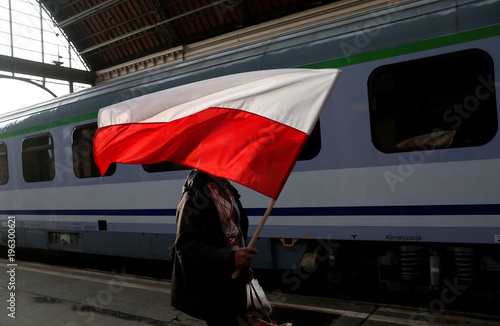 A Polish right-wing activist arrives at Keleti station to join the