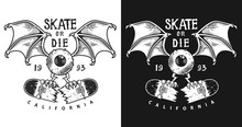 Colour Emblem Design With Skate