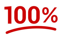 Red 100% Or 100 Percent Number...