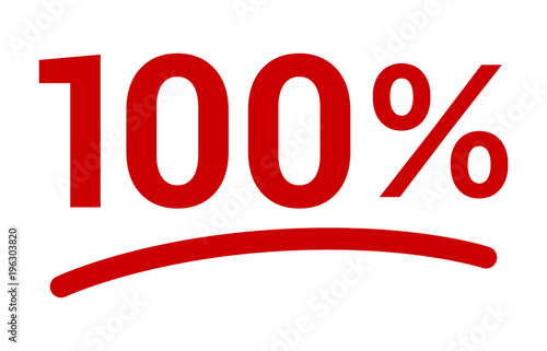Fotografia  Red 100% or 100 percent number with underline flat vector icon for apps and webs
