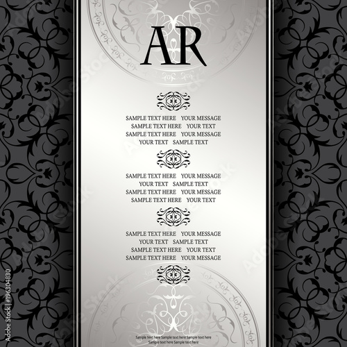 Vintage Background With Antique Luxury Silver Frame Invitation Card