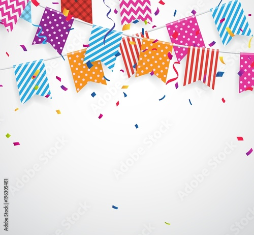 Celebration background with colorful bunting flags Wallpaper Mural