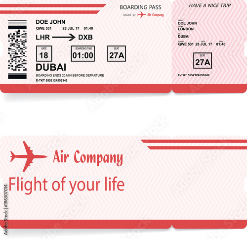 Red Vector Airline Passenger And Baggage Boarding Pass Ticket With