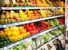 Shelves With Fresh Vegetables And Fruits In Supermarket